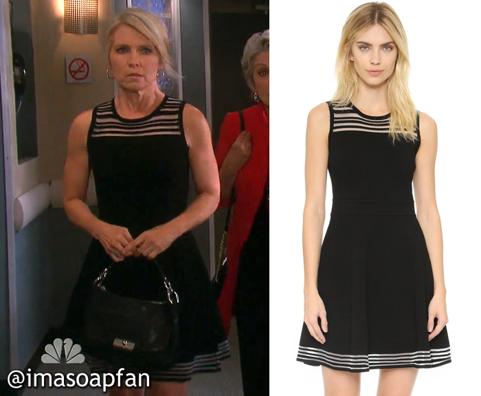 Jennifer Horton's Black Fit and Flare Dress with Sheer Stripes - Days of Our Lives, Season 51, Episode 08/25/16