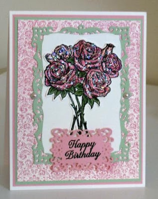 ODBD Rose Bouquet, ODBD Ornate Border Sentiments, ODBD Brocade Background, ODBD Customer Card of the Day by Amy Marshall