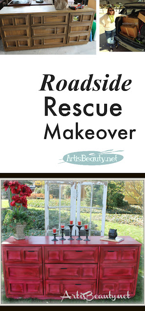 RED ROADSIDE RESCUE MAKEOVER TRASH TO TREASURE BEFORE AND AFTER ARTISBEAUTY.NET KARIN CHUDY