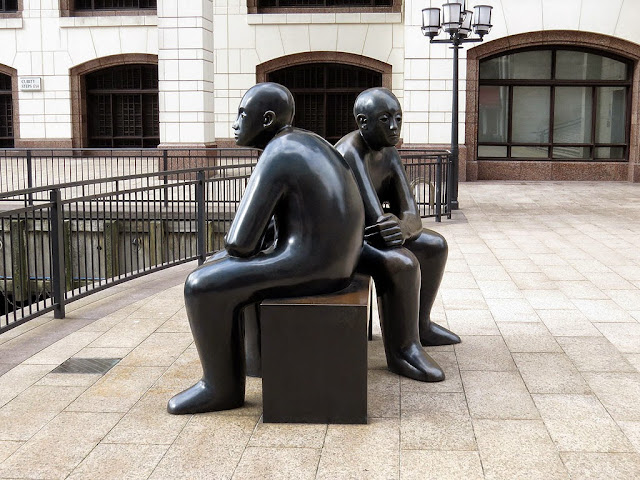 Two Men on a Bench by Giles Penny, Cubitt Steps, Canary Wharf, London,