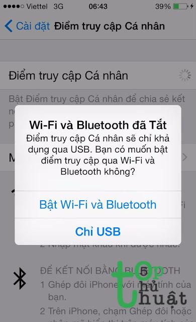 Bật Wifi và Bluetooth