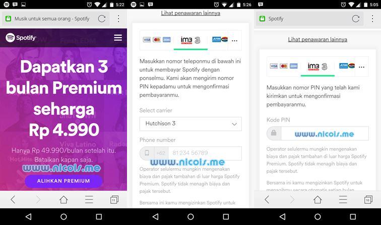 Upgrade ke akun Spotify Premium dengan metode pembayaran pulsa