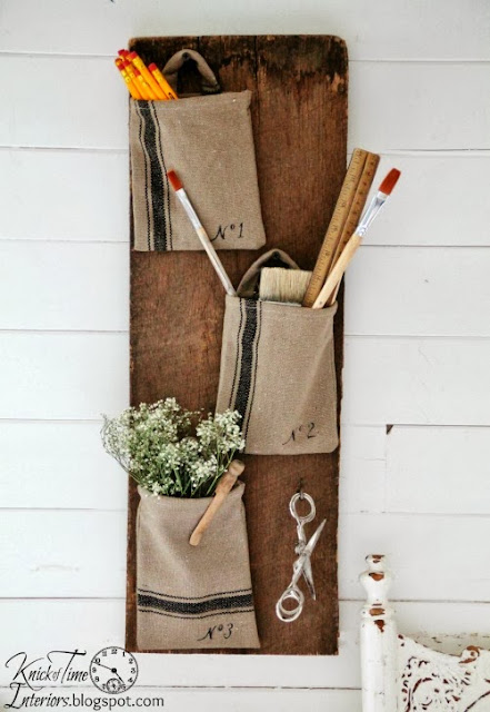 grain sack wall organizer