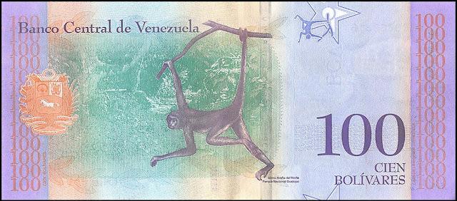 Venezuela Currency 100 Bolivares Soberanos banknote 2018 Brown spider monkey