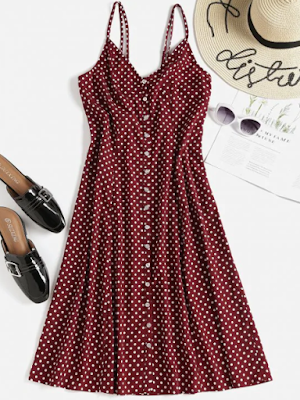 zaful1, wishlist, višlista, dress, midi, haljina, summer, ljeto, fashion, moda, red wine, burgundy, boja vina, bordo, točkice, dots