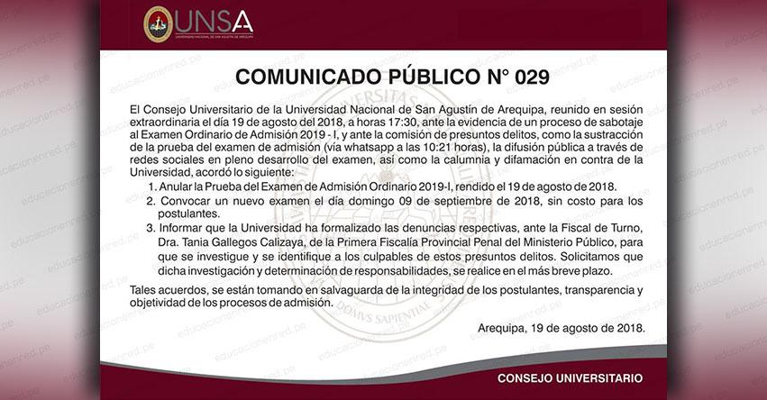 UNSA Anula Examen de Admisión 2019-I (Domingo 19 Agosto) Universidad Nacional de San Agustín de Arequipa [VIDEO] www.unsa.edu.pe