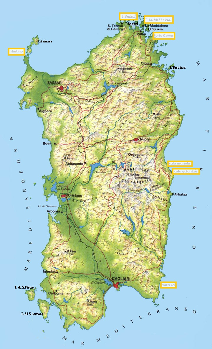 mapa playas cerdeña
