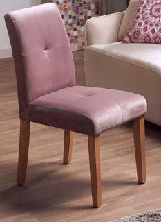 Silla tapizada en terciopelo rosa para comedor