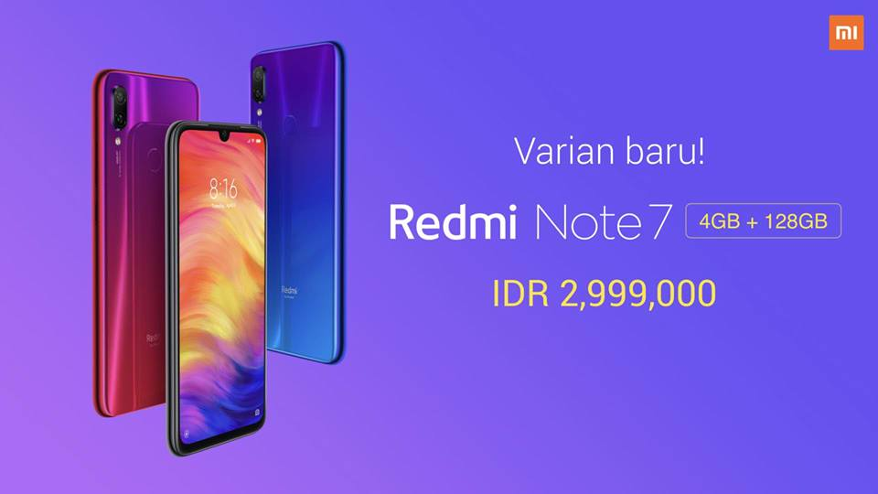 Redmi Note 7 RAM 4GB ROM 128GB Resmi Hadir di Indonesia