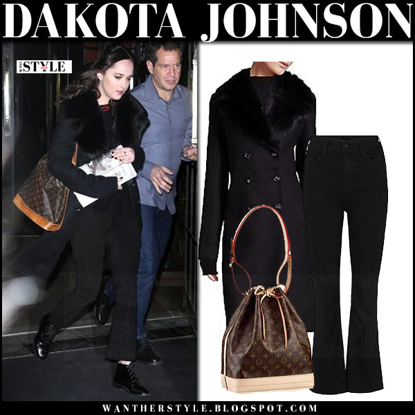 Dakota Johnson in black fur collar coat the row roza with Louis Vuitton bucket bag what she wore