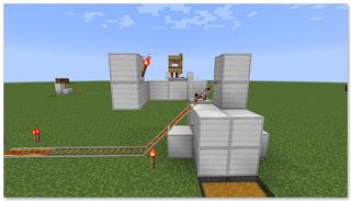 Minecraft 高速トロッコ輸送 アイテム荷降ろし駅 作り方⑪