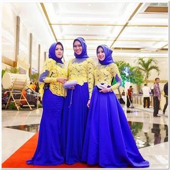 Model Kebaya Brokat Wanita Muslim Berjilbab Untuk Seragam Resepsi