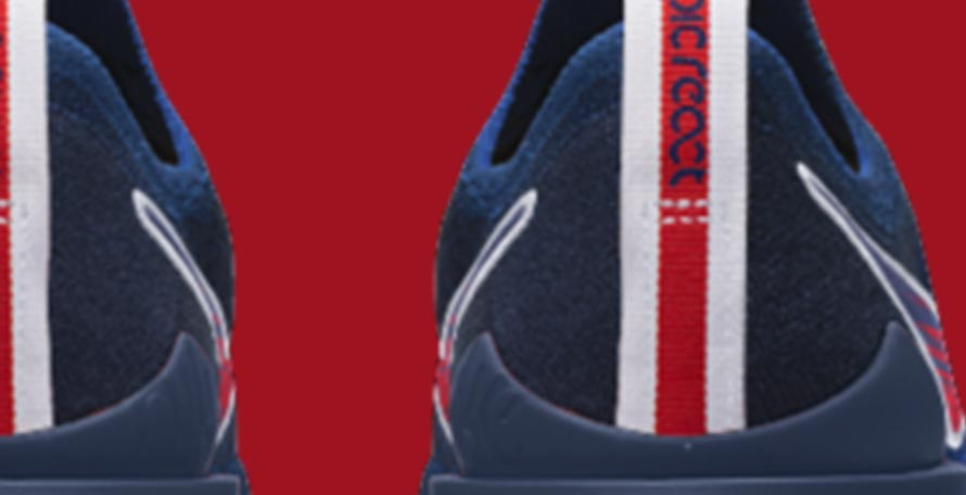 67c456de40152 Navy   Red Nike x PSG Epic React Flyknit 2 Shoes Launched - Footy ...