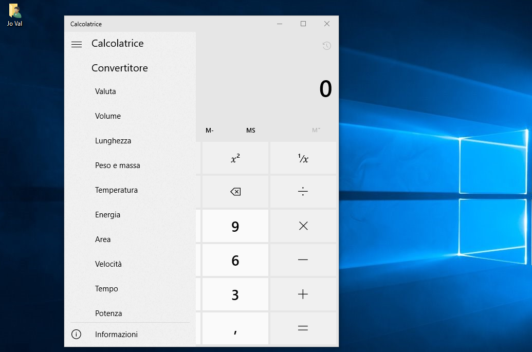 Calcolatrice-Windows-Convertitori