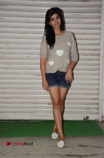 Actress Model Shamili (Varshini Sounderajan) Stills in Denim Shorts at Swachh Hyderabad Cricket Press Meet  0030.JPG