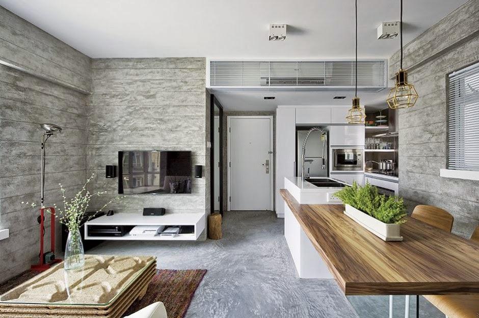 Interior de una casa moderna en gris