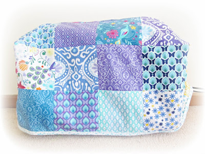 image sewing machine cover purple aqua turquoise blue yellow peacock kate spain cuzco moda charm pack
