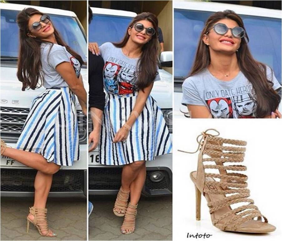 13978432b SPOTTED! Jacqueline Fernandez Wears Gladiator Style Heels (Under Rs ...