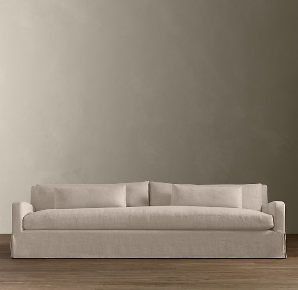 The Belgian Slope Arm Slipcovered Sofa From Restoration Hardware