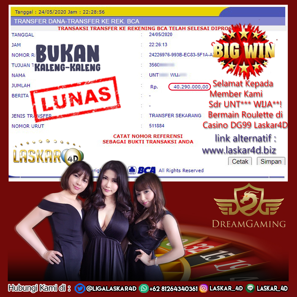 Jackpot Dengan Kemenangan Besar Bermain Di Roulette DG Casino LASKAR4D!