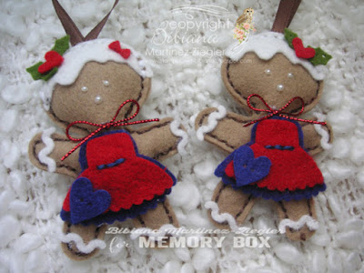 gingerbread ornaments in felt couple
