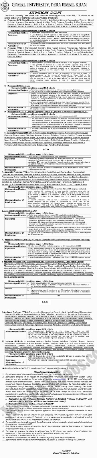 150 Jobs in Gomal University November 2018 | Advertisement 2
