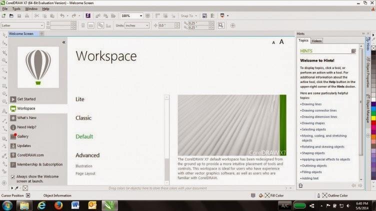 Review CorelDRAW X7 - Workspace Coreldraw x7