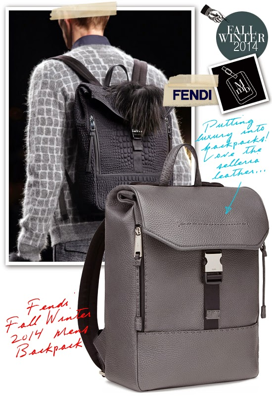 beaeb9a3e173 Fendi Fall Winter 2014 Mens Backpack  Selleria Leather and Crocodile  Printed Nylon