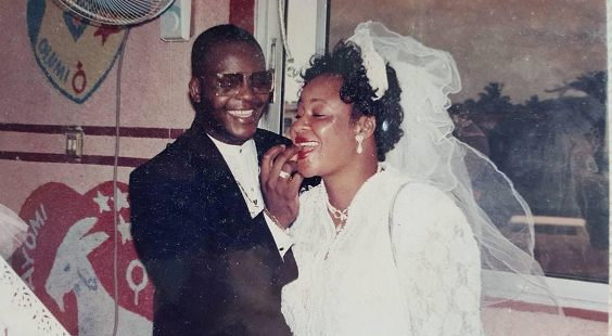 Sir Shina peters at his wedding to Sammie Peters his wife of 31 years