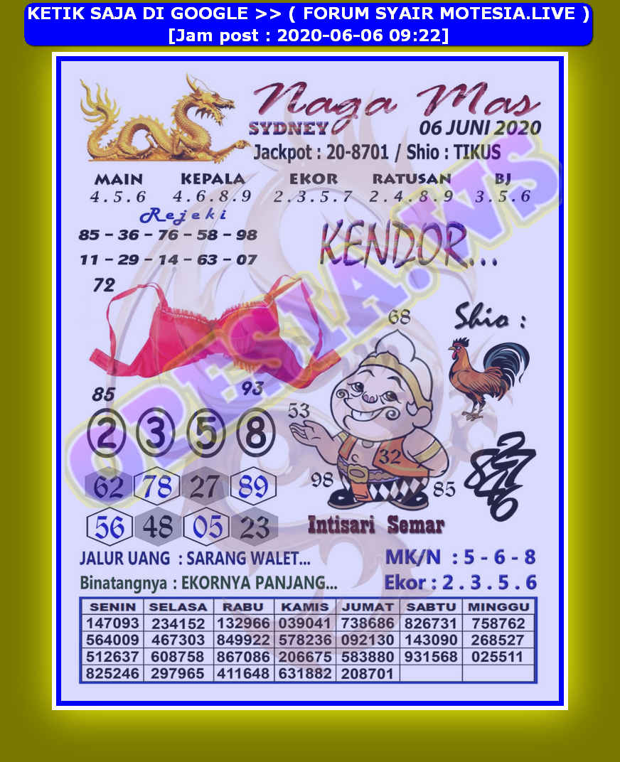 Kode Syair Sydney Sabtu 6 Juni 2020 Kumpulan Syair Toto