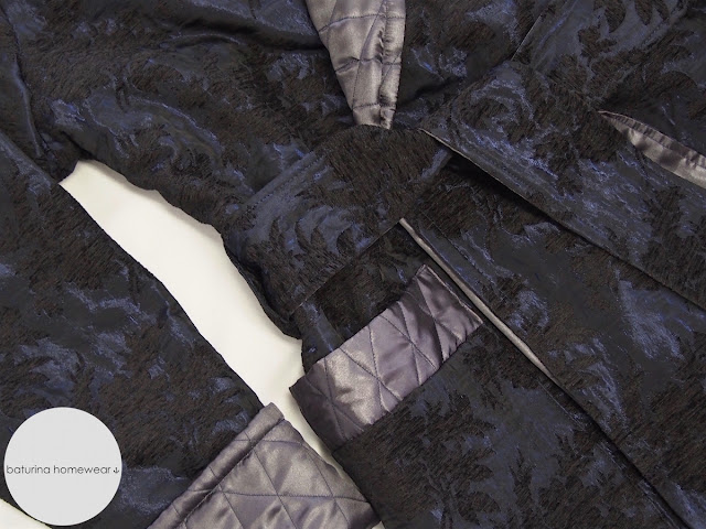 Men's Quilted Long Velvet Silk Robe in Navy Blue.