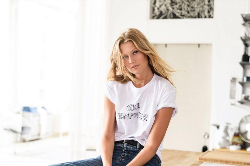 GIRL EMPOWER t-shirt as worn by supermodel and Leonardo DiCaprio ex girlfriend Toni Garrn.   PYGOD.COM