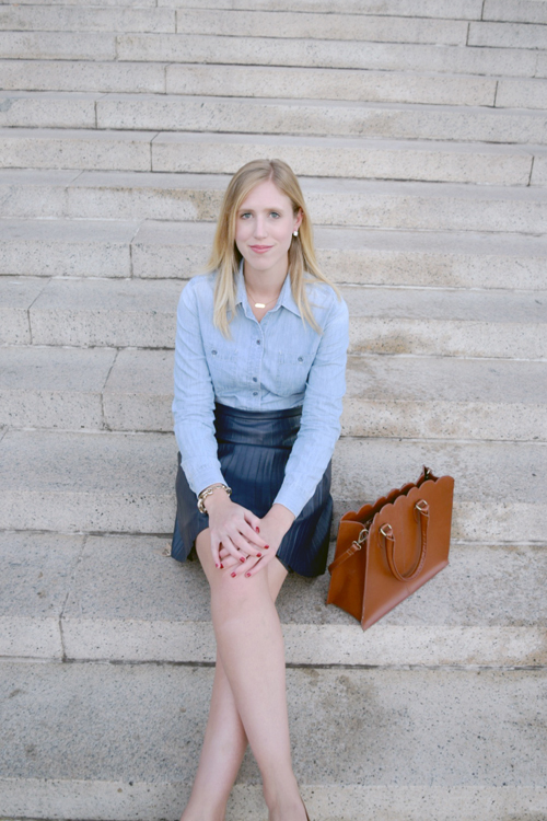 jcrew skirt and chambray
