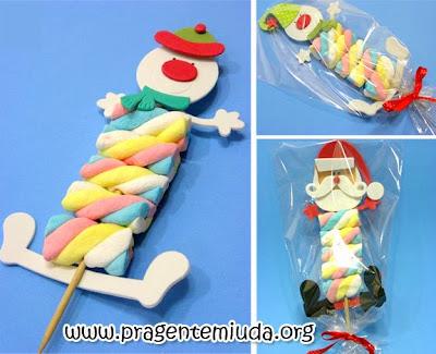 Lembrancinha de natal com marshmallow