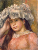 Young Girl in a Hat by Pierre-Auguste Renoir - Portrait Paintings from Hermitage Museum