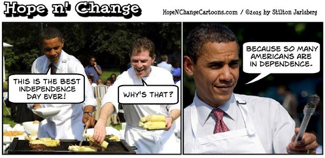 obama, obama jokes, political, humor, cartoon, conservative, hope n' change, hope and change, stilton jarlsberg, in dependence, 4th of july