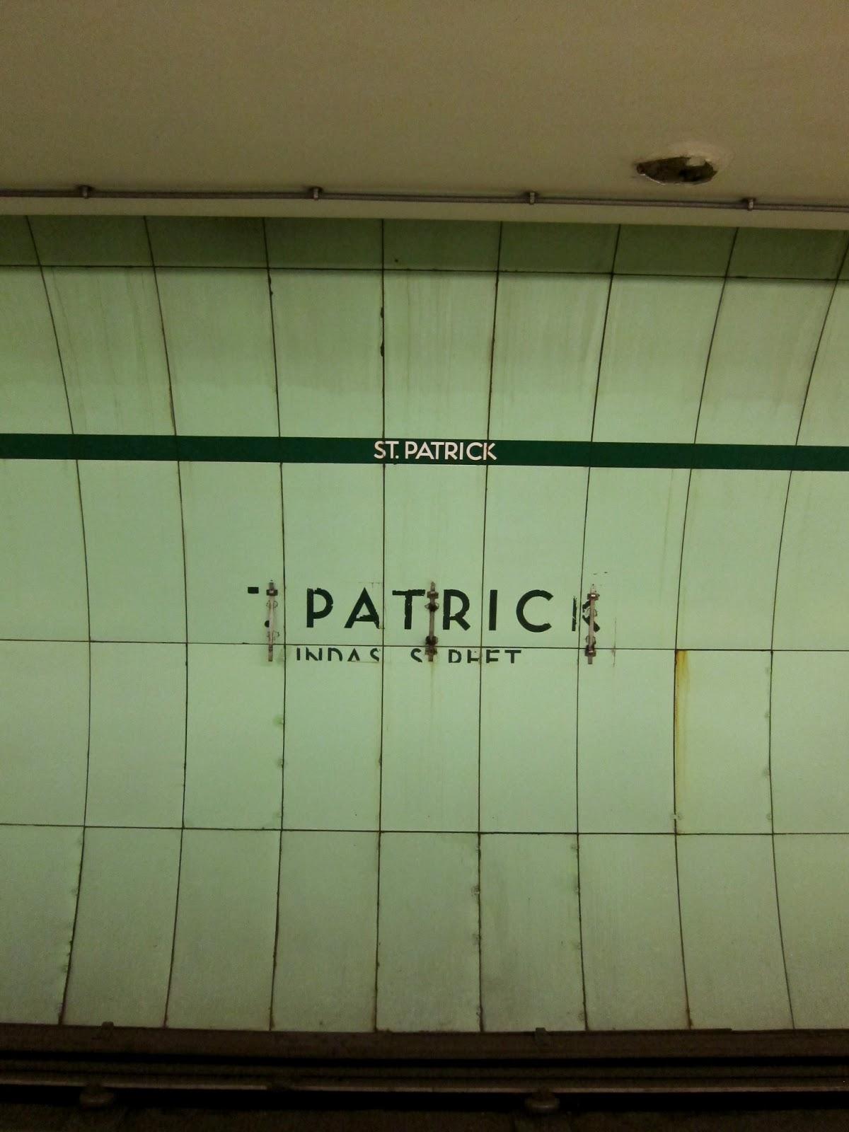 St. Patrick station platform wall