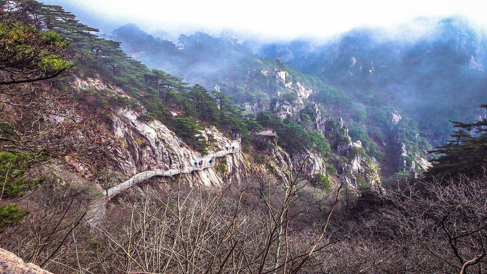 Wallpaper Huangsan mountain foot path