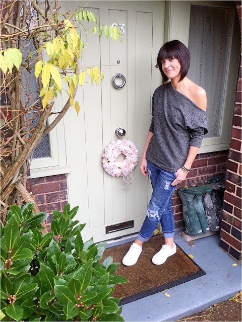My Midlife Fashion, Zara distressed boyfriend jeans, mango white leather trainers, off the shoulder cashmere jumper