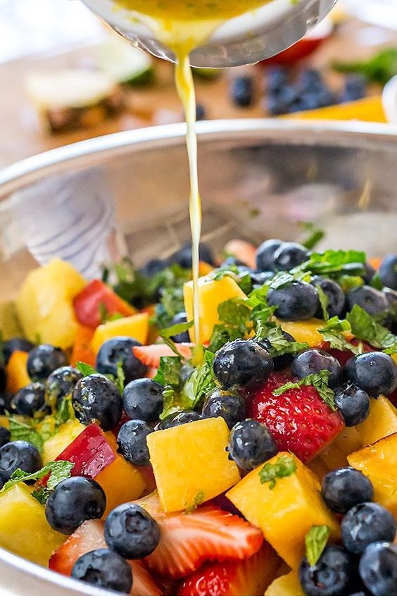 Rainbow Fruit Salad With Citrus-Honey Dressing And Fresh Mint
