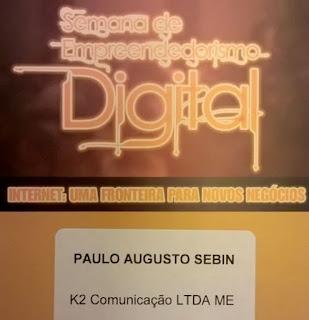 Crachá de participação Paulo Sebin em palestras para empreendedor digital
