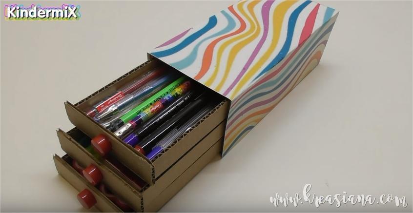Cara Membuat Kerajinan Tempat Pensil Dari Kardus
