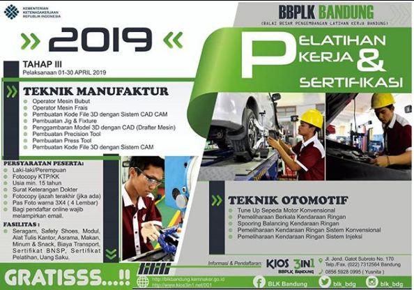 Pelatihan Kerja GRATIS di Bandung