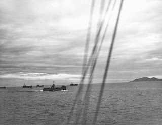 US Navy landing ships offshore at Nasugbu during the January 1945 landing.