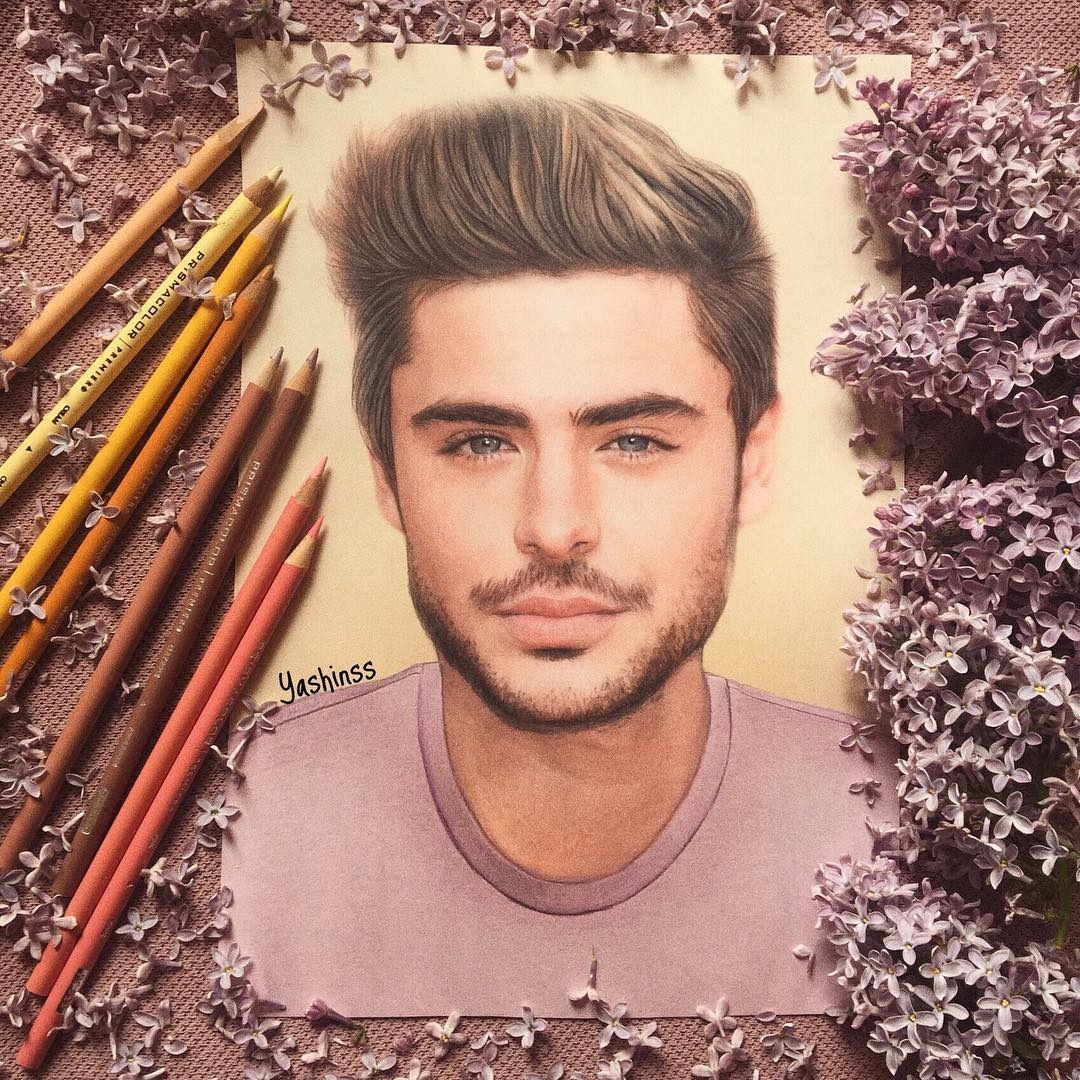 15-Zac-Efron-Vlad-Yashin-Realistic-Color-Pencil-Portraits-of-Celebrities-www-designstack-co