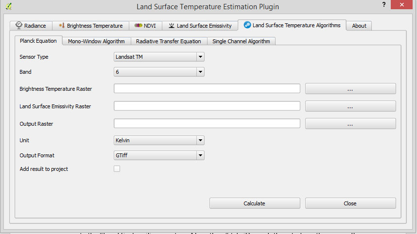 A PyQGIS plugin for Land Surface Temperature Estimation Using