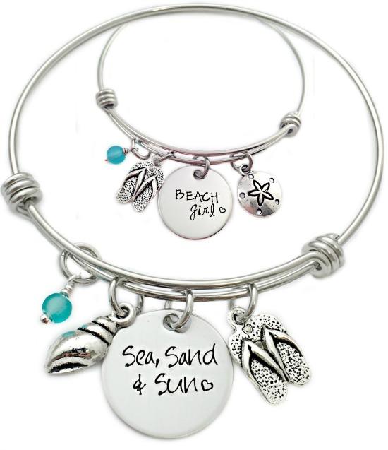 Sea Sund & Sand Hand Stamped Beach Bracelets