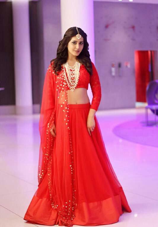 Telugu Actress Rashi Khanna Hot Photos Red Dress