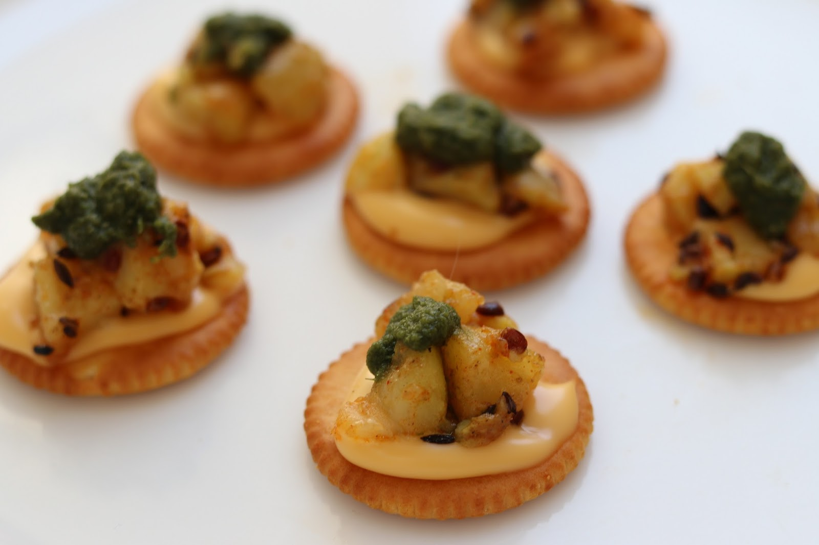 Chatpata veg canapes monaco bites healthy kadai for Canape toppings