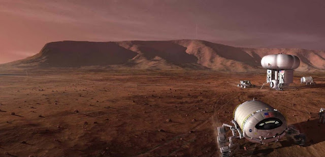 Artist's concept of a manned mission to Mars. Credit: NASA